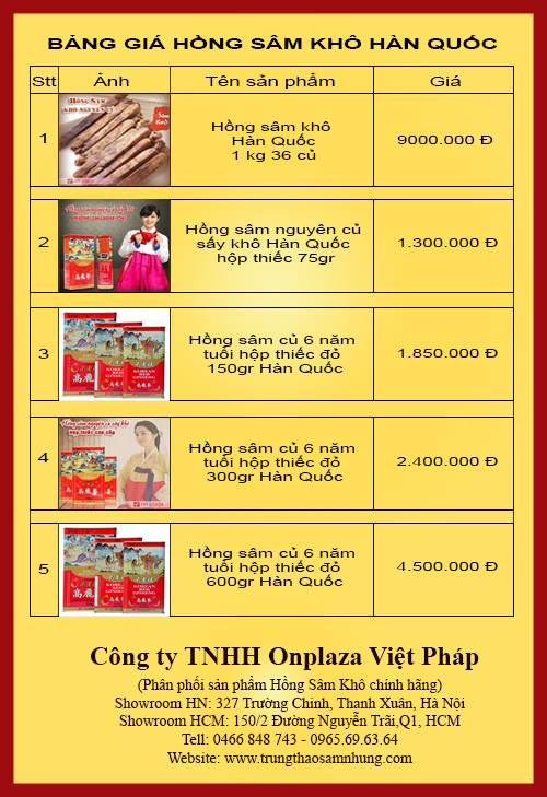 bang gia hong sam kho Hồng sâm sấy khô hộp thiếc đỏ 300gr Hàn Quốc