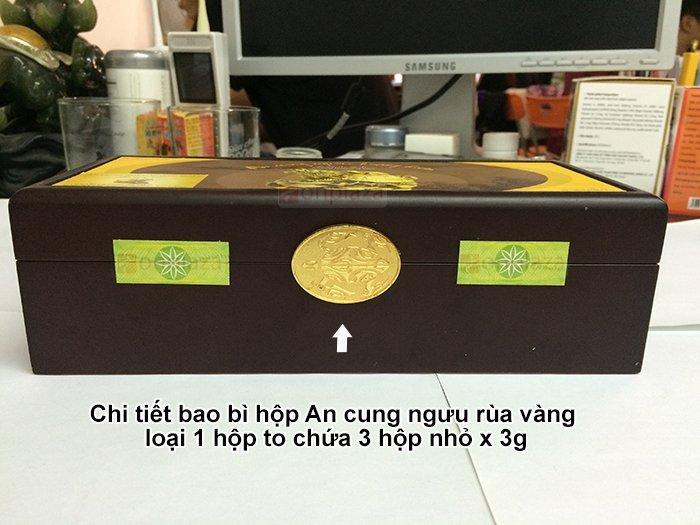 Chi tiết hộp sản phẩm an cung ngưu rùa vàng hộp 3 lọ