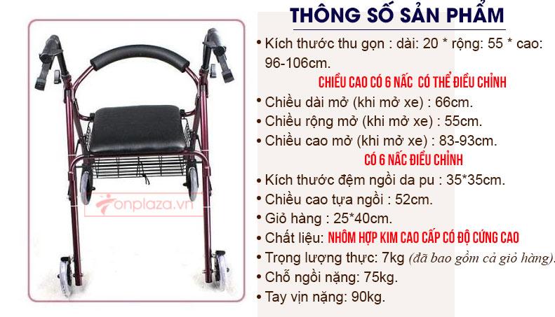 Khung tập di có bánh xe loại cao cấp cho người khuyết tật TM040