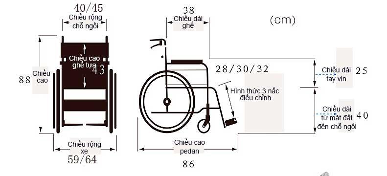 Dòng xe lăn cao cấp theo công nghệ cao Nhật Bản TM042