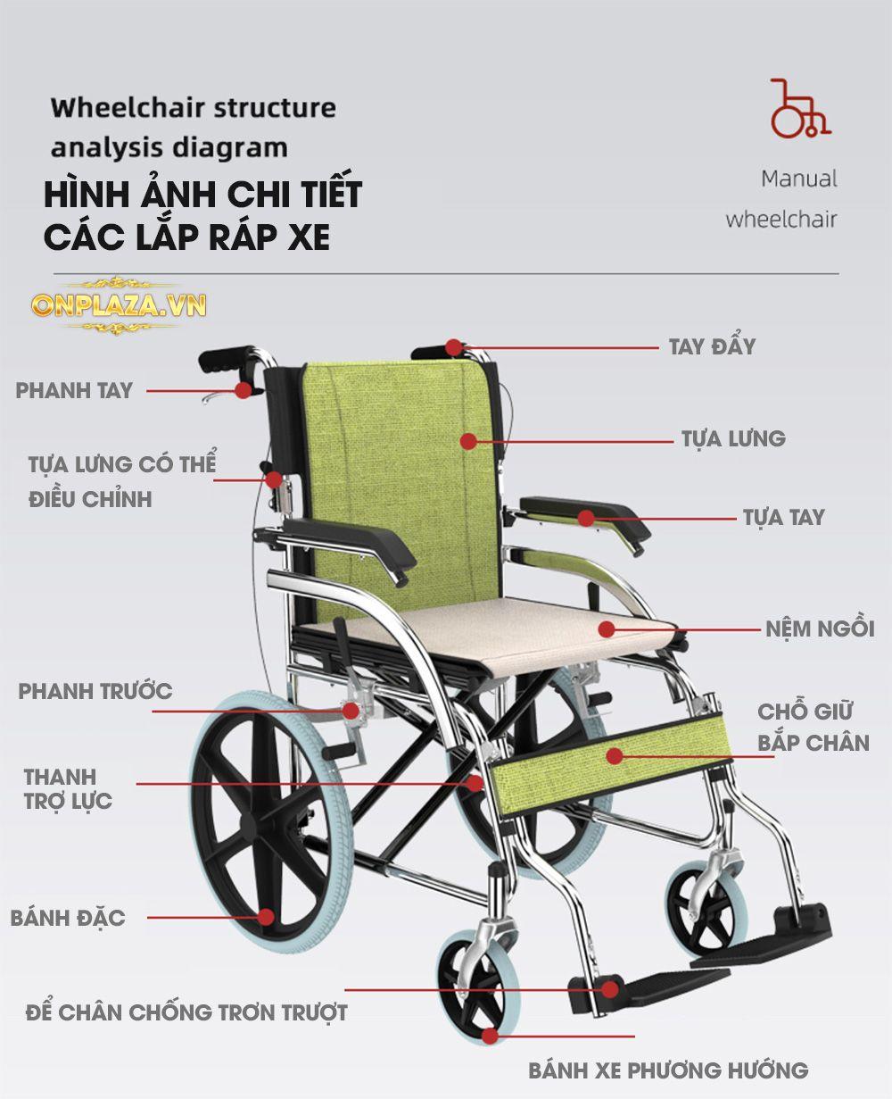 Xe lăn tích hợp đẩy tay nhập khẩu chất lượng cao TM044