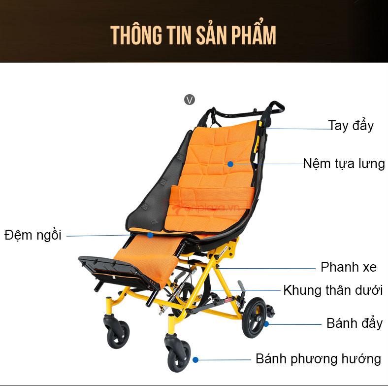 Xe lăn ngả thiết kế riêng cho trẻ bại não khuyết tật TM045