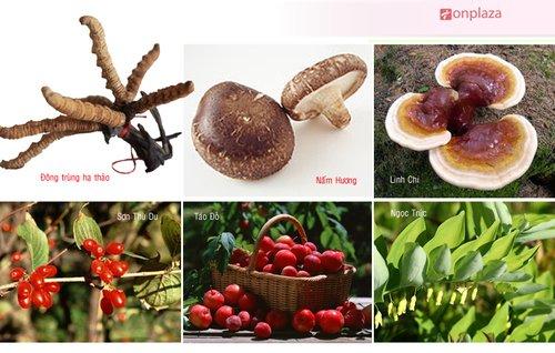 Sản phẩm có thành phần chính là con đông trùng hạ thảo, nấm linh chi.